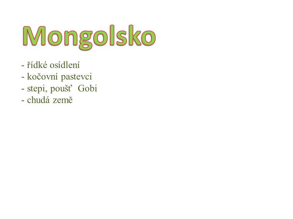 Mongolsko řídké osídlení kočovní pastevci stepi, poušť Gobi chudá země