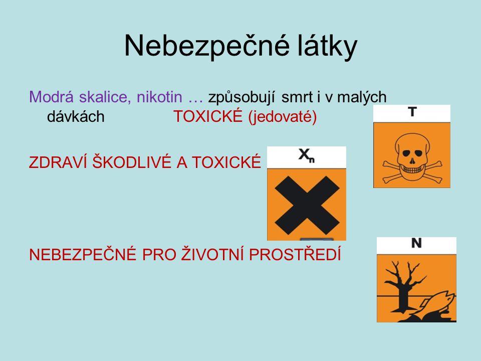 Nebezpečné látky Modrá skalice, nikotin … způsobují smrt i v malých dávkách TOXICKÉ (jedovaté)
