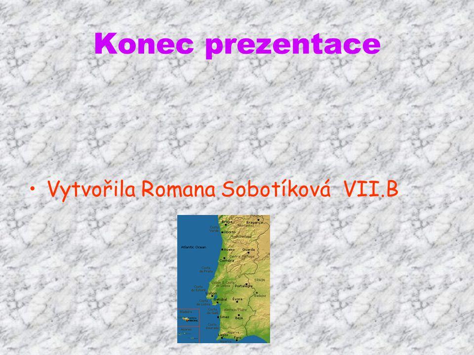 Konec prezentace Vytvořila Romana Sobotíková VII.B