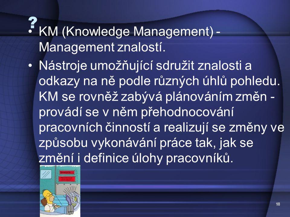KM (Knowledge Management) - Management znalostí.