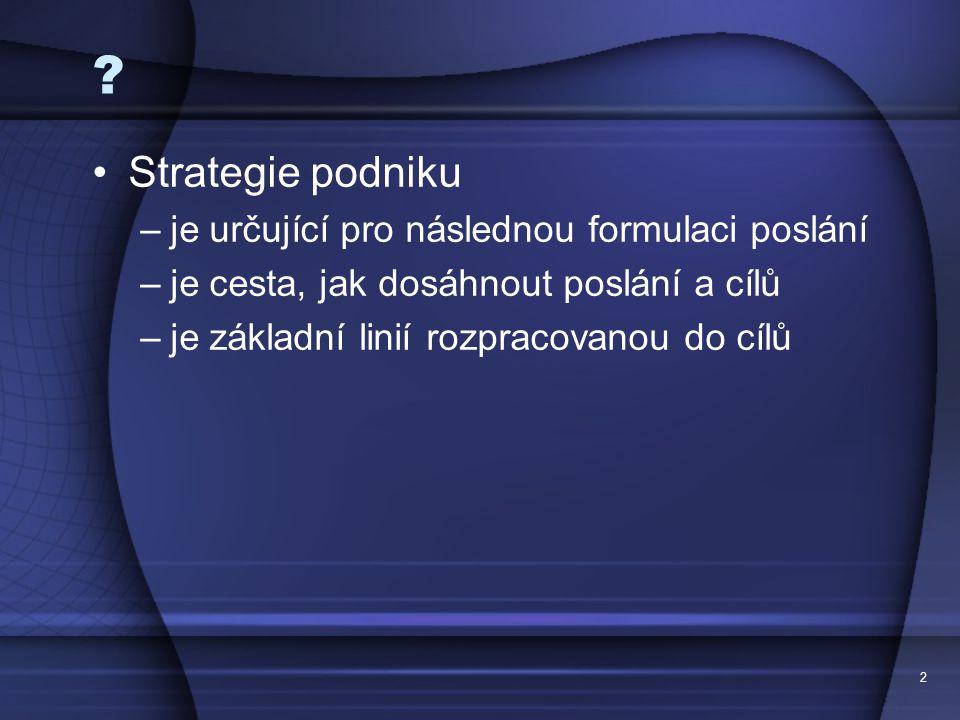 Strategie podniku je určující pro následnou formulaci poslání