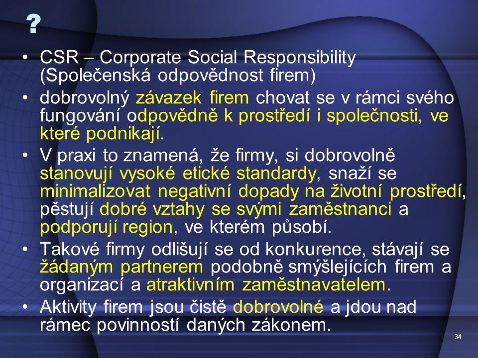 CSR – Corporate Social Responsibility (Společenská odpovědnost firem)