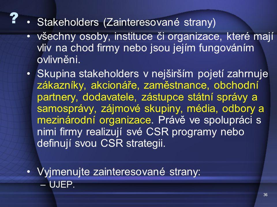 Stakeholders (Zainteresované strany)
