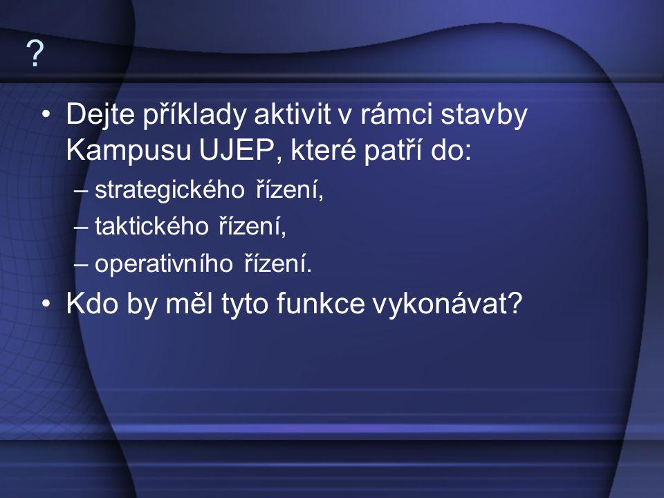 Dejte příklady aktivit v rámci stavby Kampusu UJEP, které patří do: