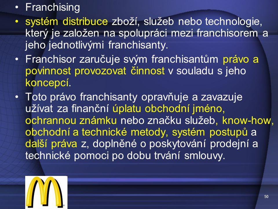 Franchising systém distribuce zboží, služeb nebo technologie, který je založen na spolupráci mezi franchisorem a jeho jednotlivými franchisanty.