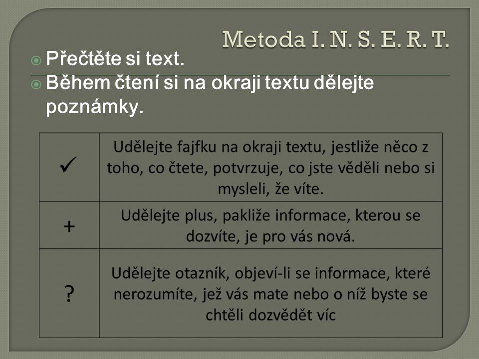 Metoda I. N. S. E. R. T. Přečtěte si text.
