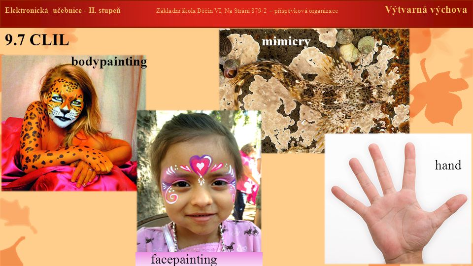 9.7 CLIL mimicry bodypainting hand facepainting