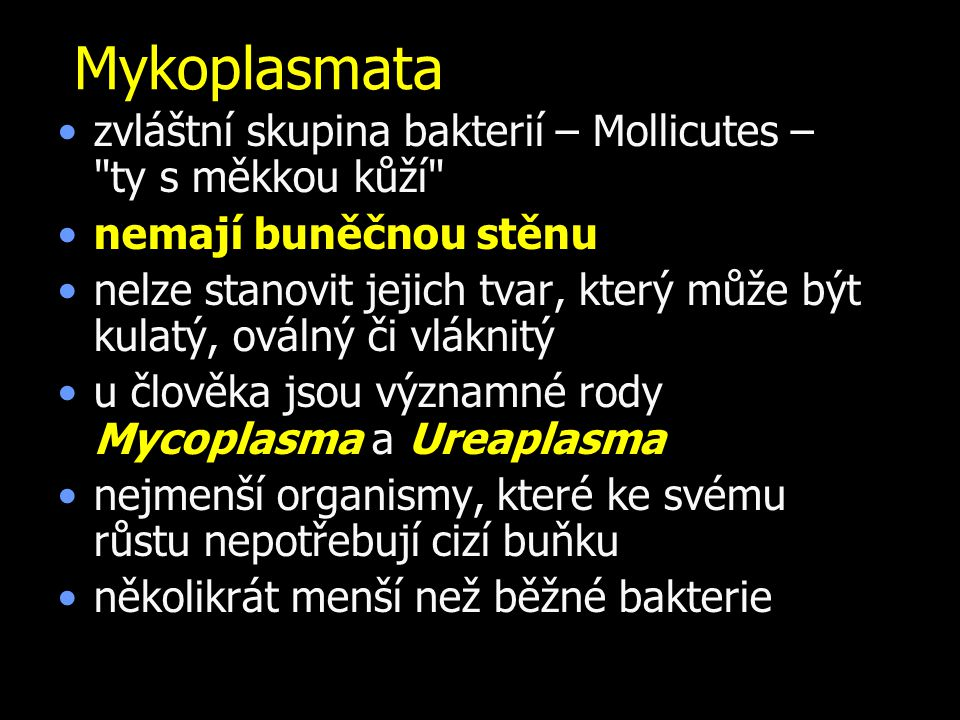 Mykoplasmata zvláštní skupina bakterií – Mollicutes – ty s měkkou kůží nemají buněčnou stěnu.
