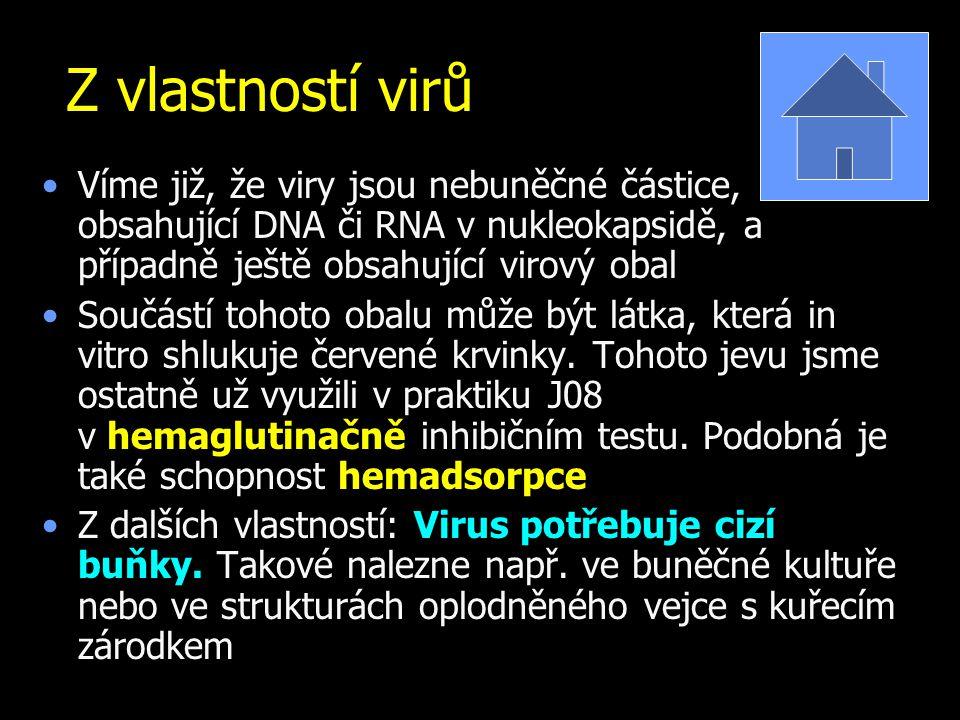 Z vlastností virů Víme již, že viry jsou nebuněčné částice, obsahující DNA či RNA v nukleokapsidě, a případně ještě obsahující virový obal.