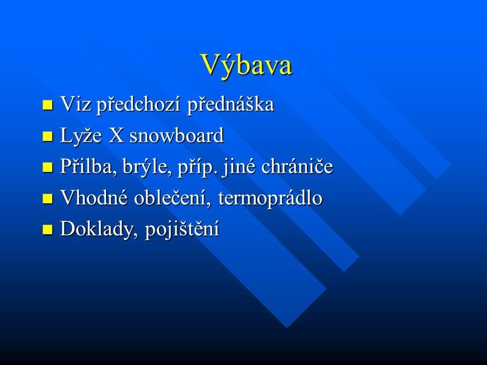 Výbava Viz předchozí přednáška Lyže X snowboard