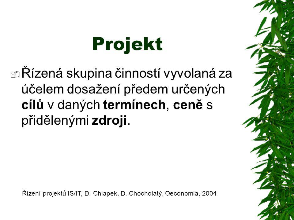 Projekt Řízená skupina činností vyvolaná za účelem dosažení předem určených cílů v daných termínech, ceně s přidělenými zdroji.