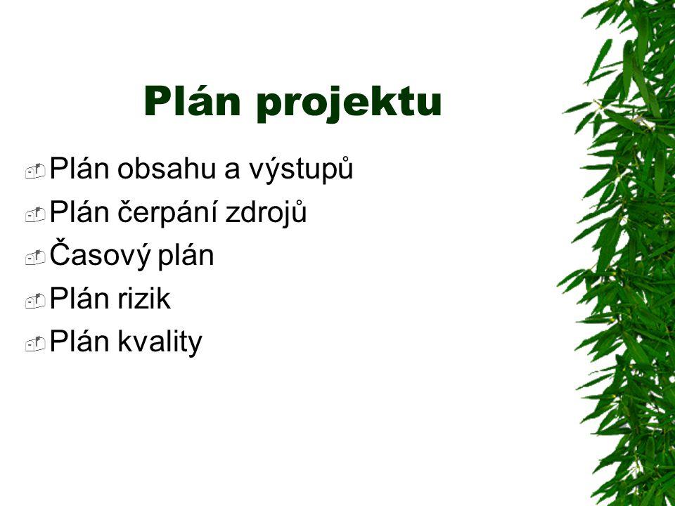 Plán projektu Plán obsahu a výstupů Plán čerpání zdrojů Časový plán