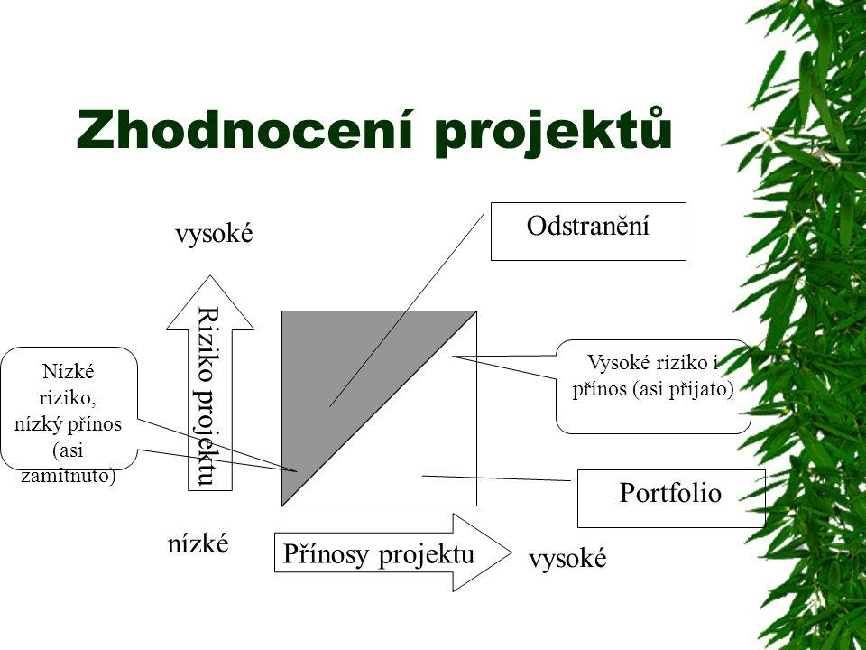 Zhodnocení projektů Odstranění vysoké Riziko projektu Portfolio nízké