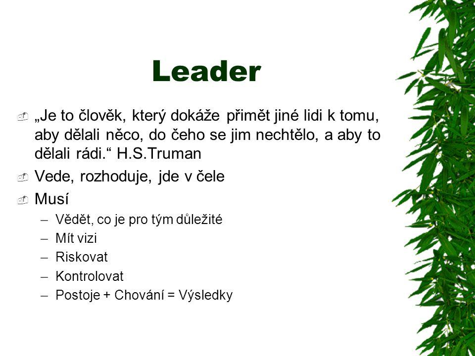 """Leader """"Je to člověk, který dokáže přimět jiné lidi k tomu, aby dělali něco, do čeho se jim nechtělo, a aby to dělali rádi. H.S.Truman."""