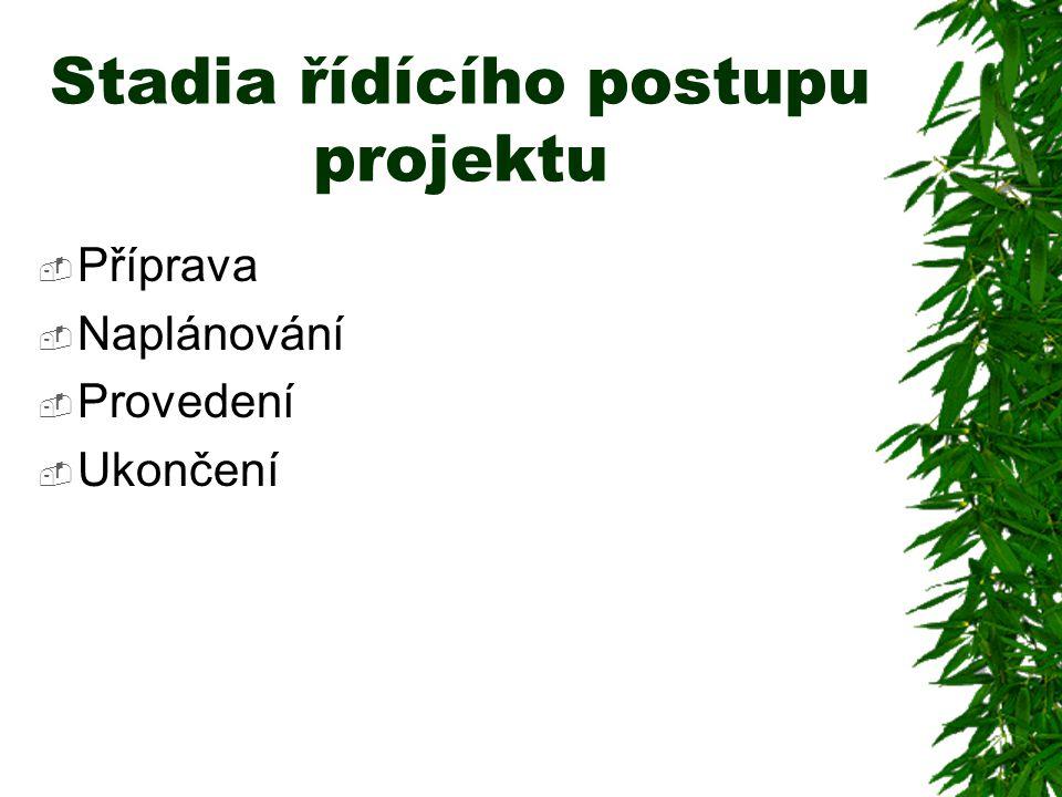 Stadia řídícího postupu projektu
