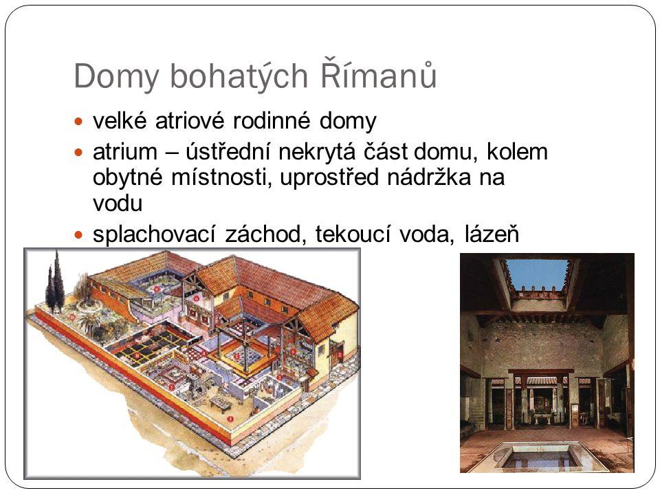 Domy bohatých Římanů velké atriové rodinné domy