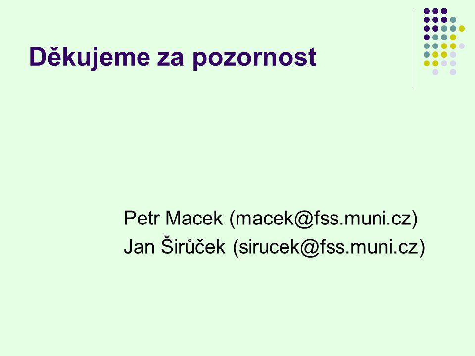 Děkujeme za pozornost Petr Macek (macek@fss.muni.cz)
