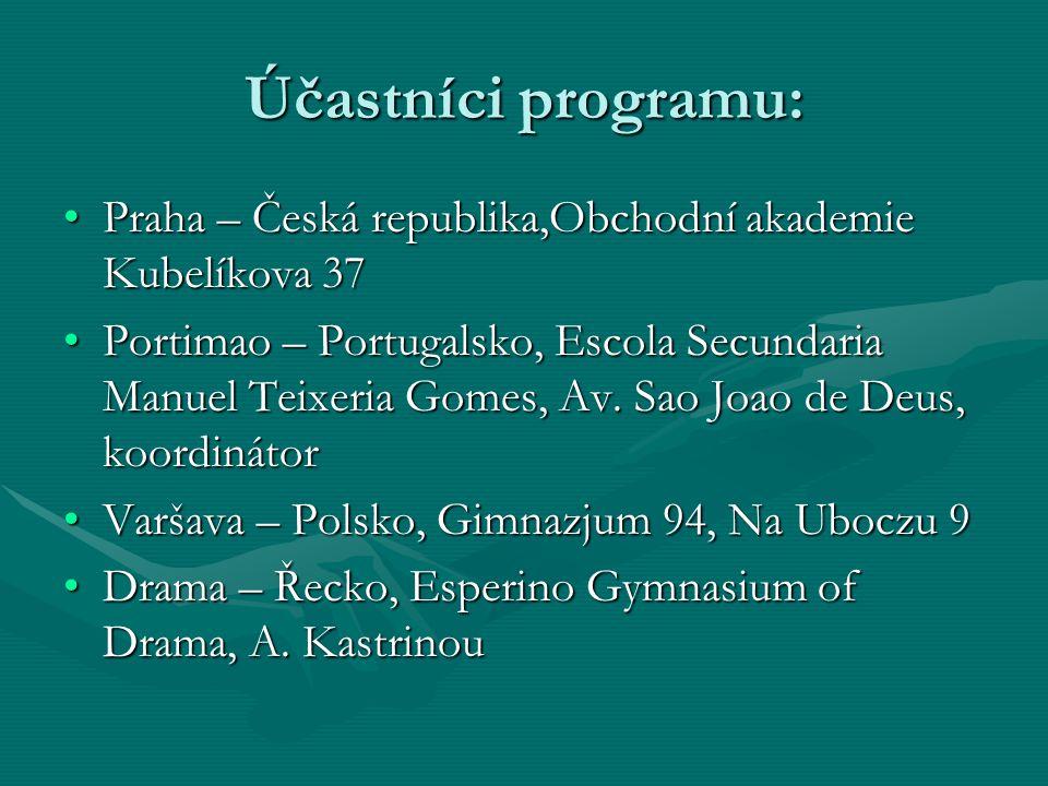 Účastníci programu: Praha – Česká republika,Obchodní akademie Kubelíkova 37.