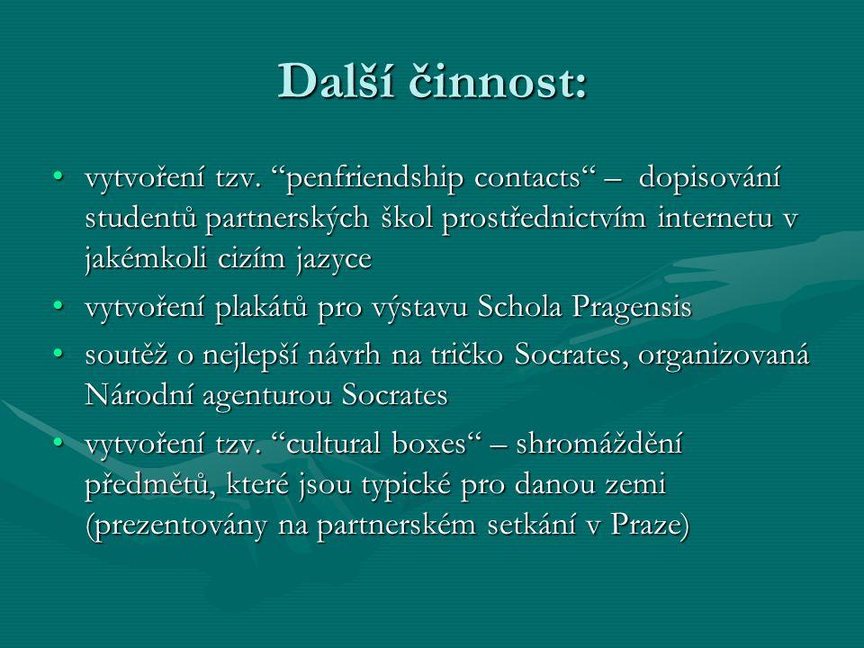 Další činnost: vytvoření tzv. penfriendship contacts – dopisování studentů partnerských škol prostřednictvím internetu v jakémkoli cizím jazyce.