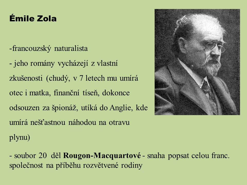 Émile Zola francouzský naturalista.