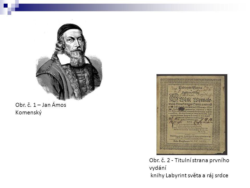 Obr. č. 1 – Jan Ámos Komenský. Obr. č. 2 - Titulní strana prvního vydání.