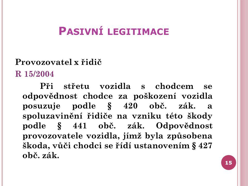 Pasivní legitimace Provozovatel x řidič R 15/2004