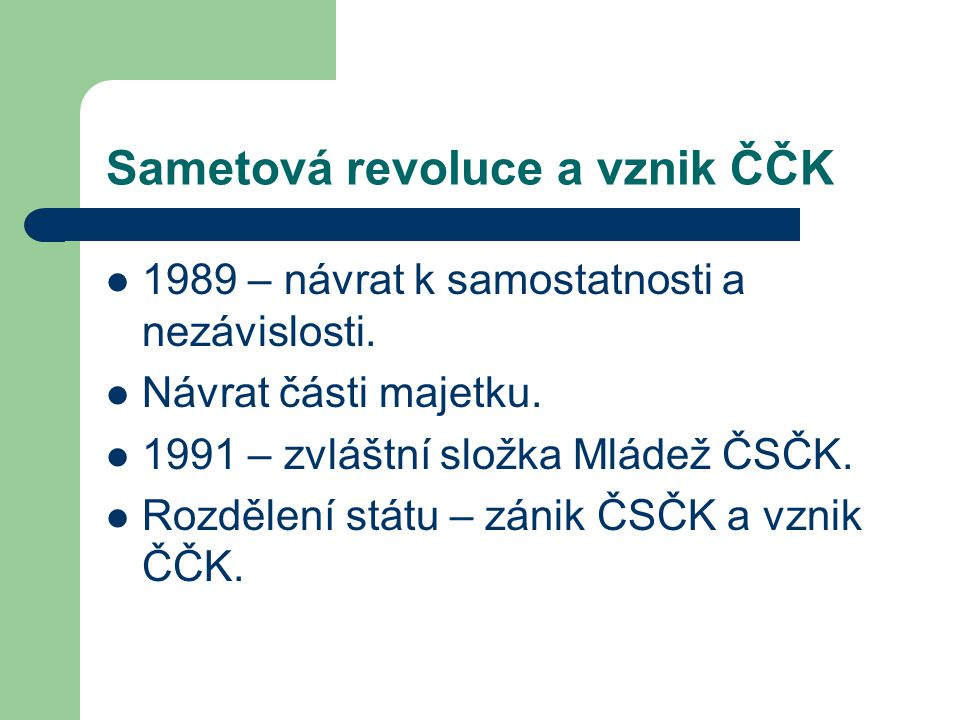 Sametová revoluce a vznik ČČK