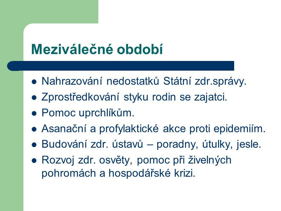 Meziválečné období Nahrazování nedostatků Státní zdr.správy.