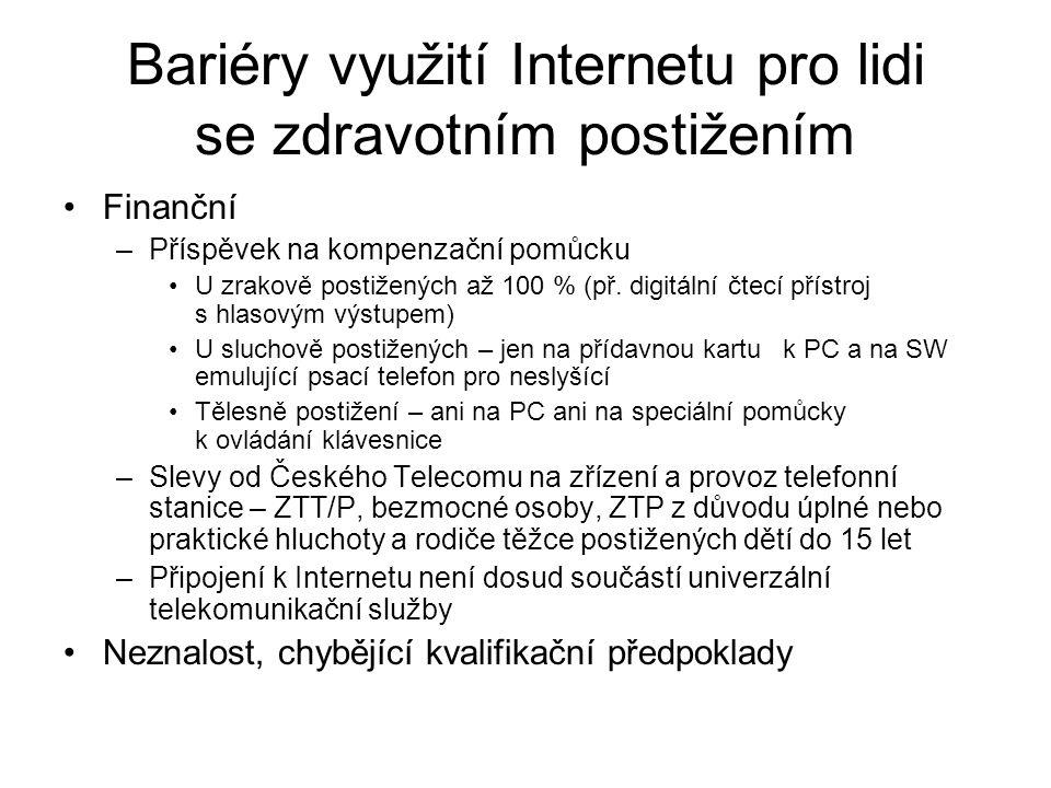 Bariéry využití Internetu pro lidi se zdravotním postižením