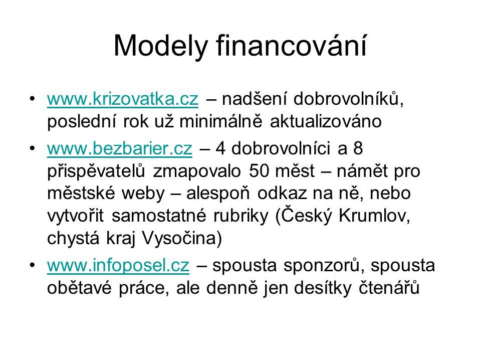 Modely financování www.krizovatka.cz – nadšení dobrovolníků, poslední rok už minimálně aktualizováno.