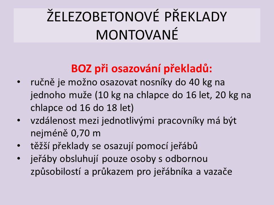 ŽELEZOBETONOVÉ PŘEKLADY MONTOVANÉ
