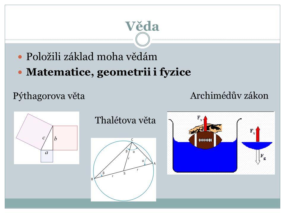 Věda Položili základ moha vědám Matematice, geometrii i fyzice