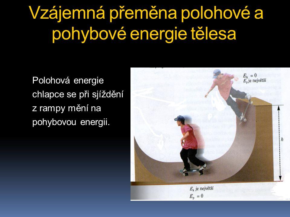Vzájemná přeměna polohové a pohybové energie tělesa