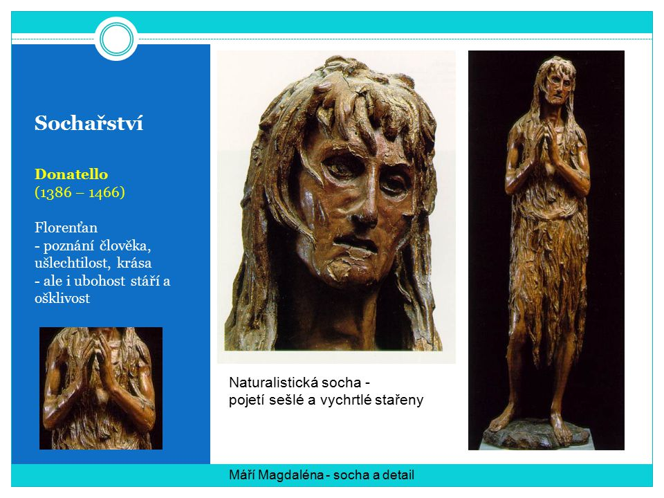 Sochařství Donatello (1386 – 1466) Florenťan