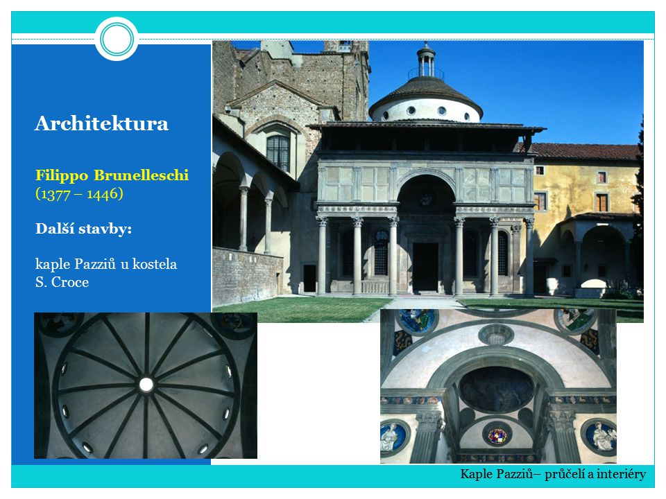Architektura Filippo Brunelleschi (1377 – 1446) Další stavby: