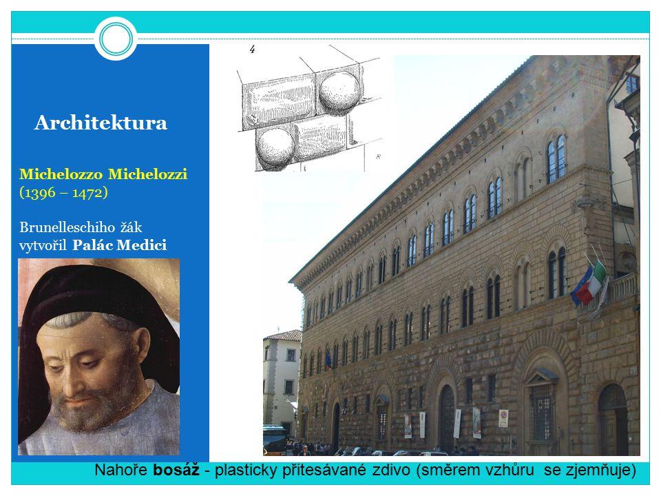 Architektura Michelozzo Michelozzi. (1396 – 1472) Brunelleschiho žák. vytvořil Palác Medici.