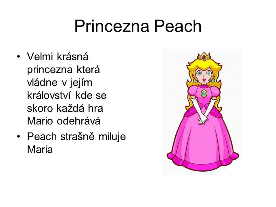 Princezna Peach Velmi krásná princezna která vládne v jejím království kde se skoro každá hra Mario odehrává.