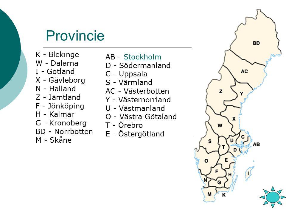 Provincie K - Blekinge AB - Stockholm W - Dalarna D - Södermanland