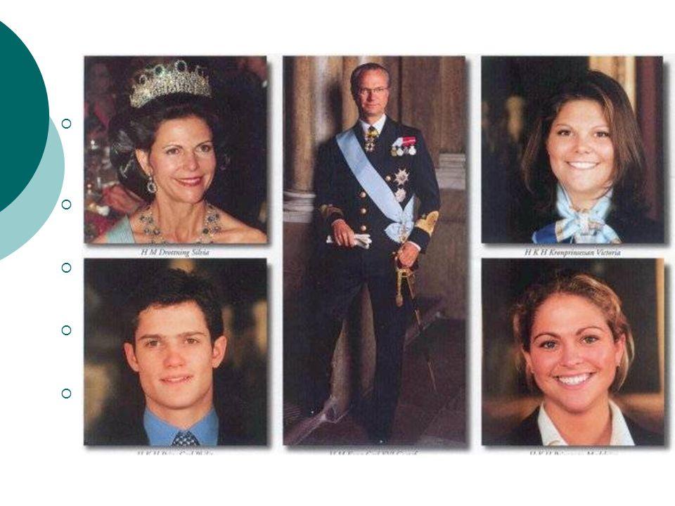 Královská rodina Carl XVI Gustaf Folke Hubertus - švédský král. narozen 30. dubna 1946, korunován 15. září 1973, oddán 19. června 1976.