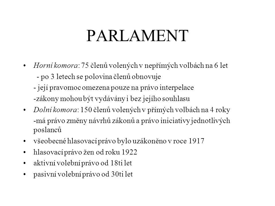 PARLAMENT Horní komora: 75 členů volených v nepřímých volbách na 6 let