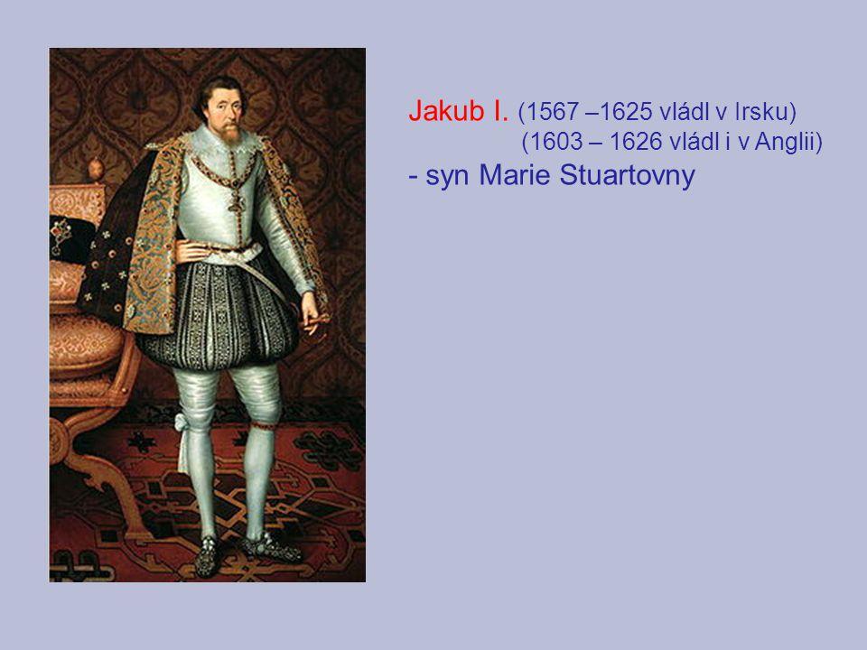 Jakub I. (1567 –1625 vládl v Irsku) - syn Marie Stuartovny