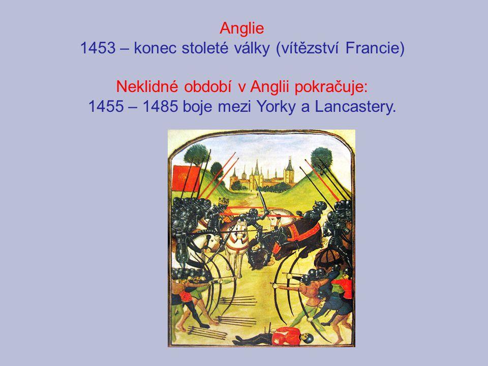 1453 – konec stoleté války (vítězství Francie)