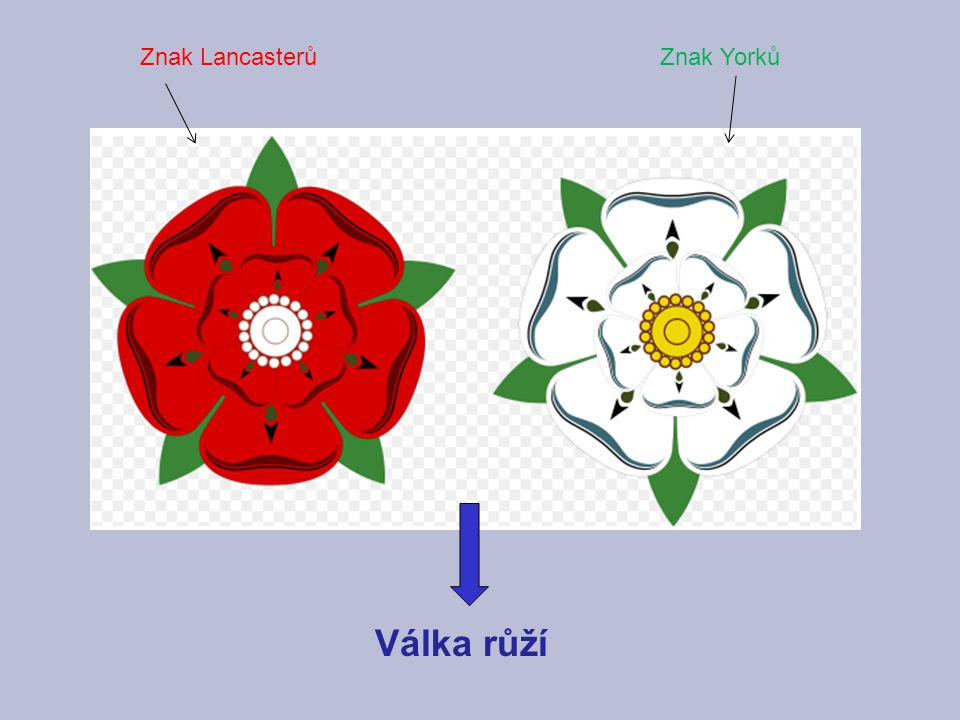Znak Lancasterů Znak Yorků Válka růží