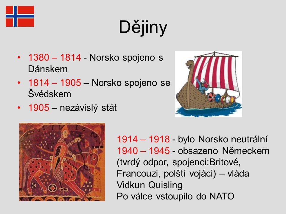 Dějiny 1380 – 1814 - Norsko spojeno s Dánskem