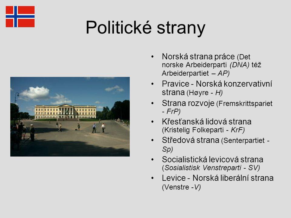 Politické strany Norská strana práce (Det norske Arbeiderparti (DNA) též Arbeiderpartiet – AP) Pravice - Norská konzervativní strana (Høyre - H)