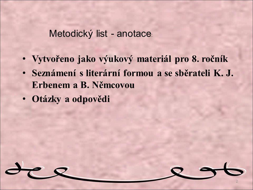 Metodický list - anotace: