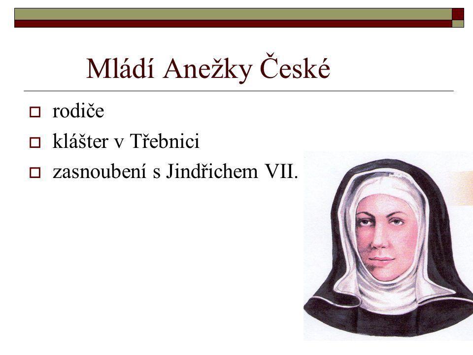 Mládí Anežky České rodiče klášter v Třebnici
