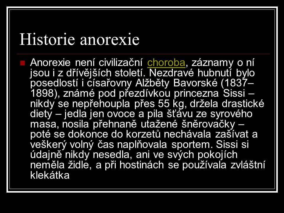 Historie anorexie