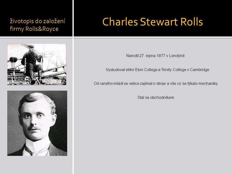 Charles Stewart Rolls životopis do založení firmy Rolls&Royce