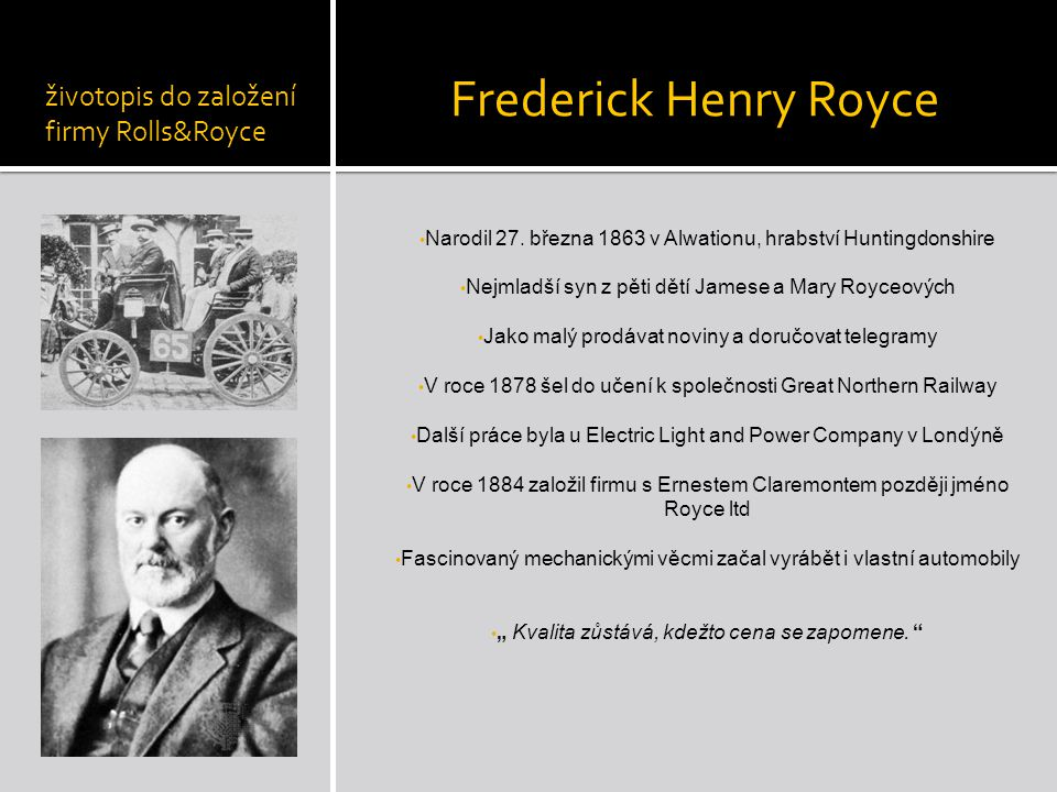 Frederick Henry Royce životopis do založení firmy Rolls&Royce